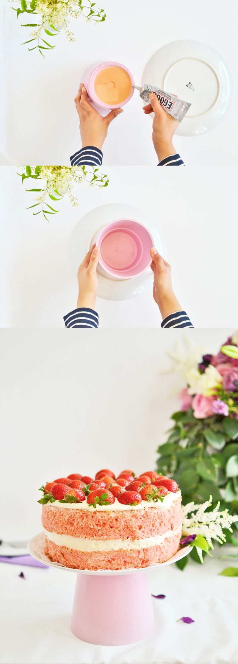 Diy cake stand from planter glue