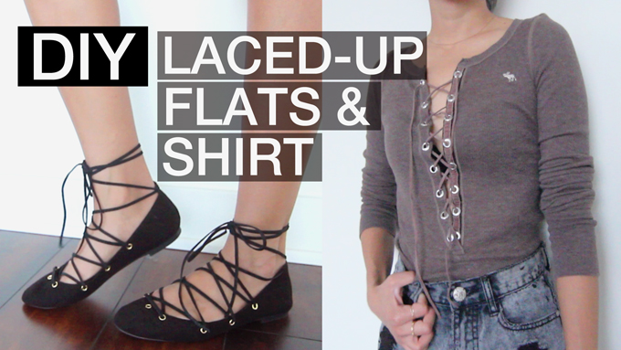 Diy laced up flats and shirt