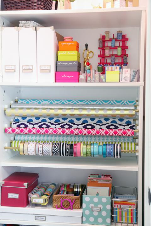 Diy organized giftwrap station