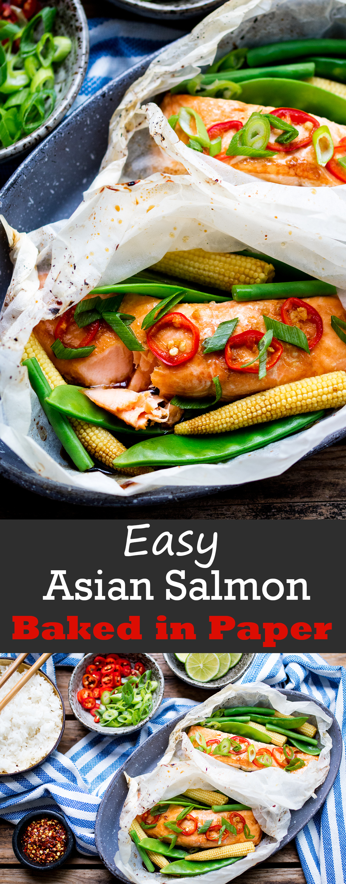 Easy Asian baked salmon - cooked in paper so it's moist and tender.