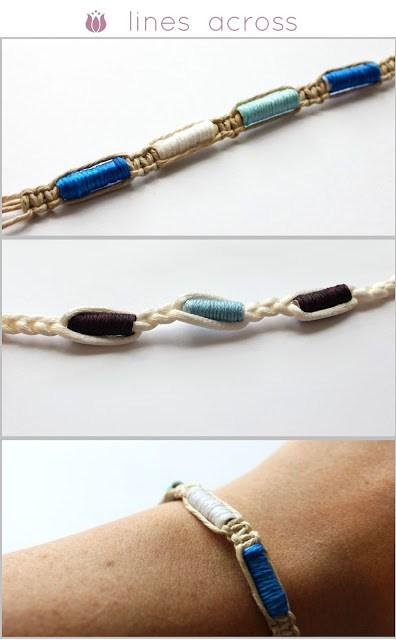 Embroidery beaded hemp bracelet