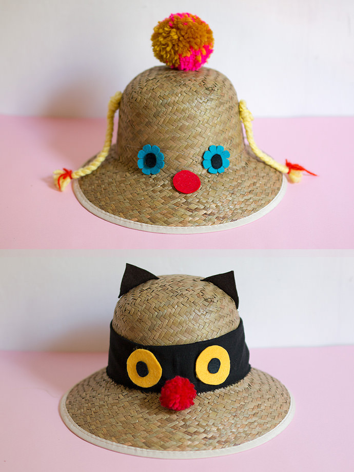 Funny faced sun hats