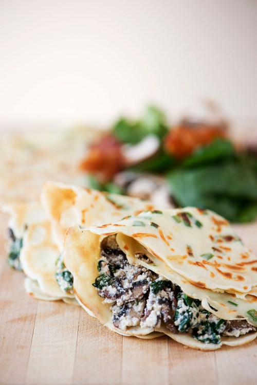 Green onion parmesan crepes with ricotta spinach bacon mushroom filling 1