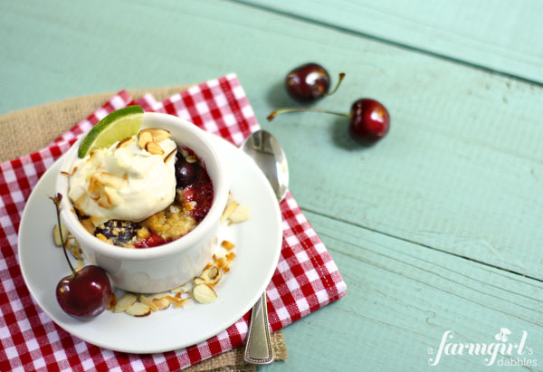 Island cherry crumble with creamy lime whip