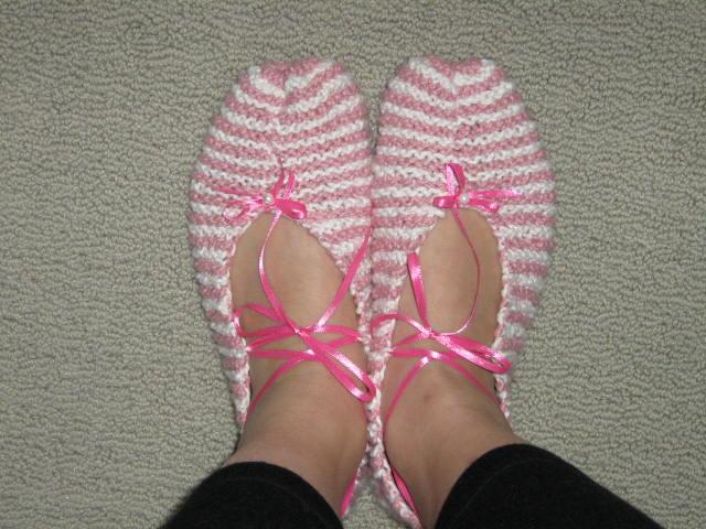 Knitted ballet slippers