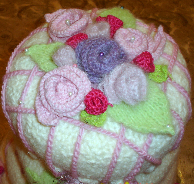 Knitted wedding cake