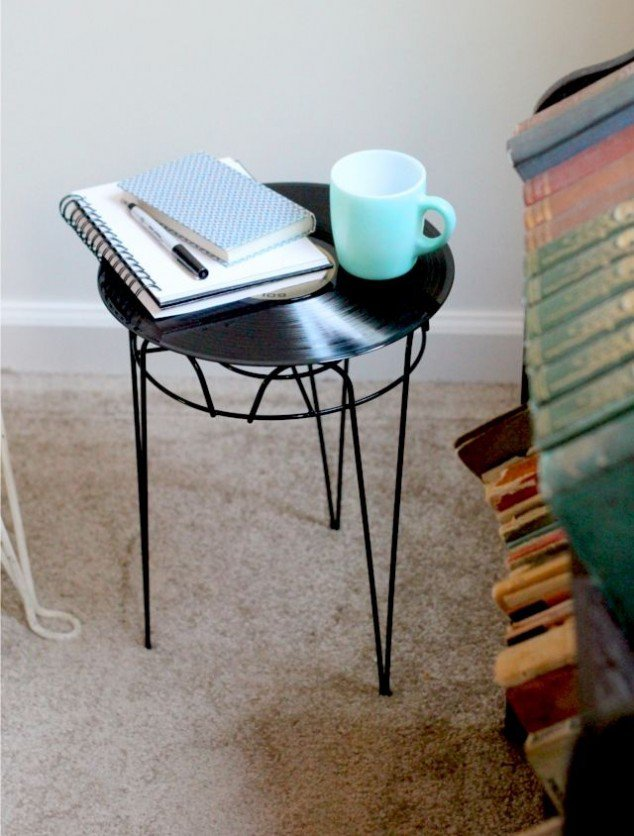 Lp record side table