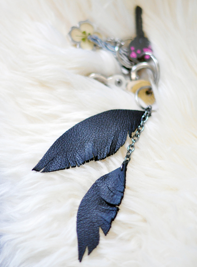 Leather feather key danglers