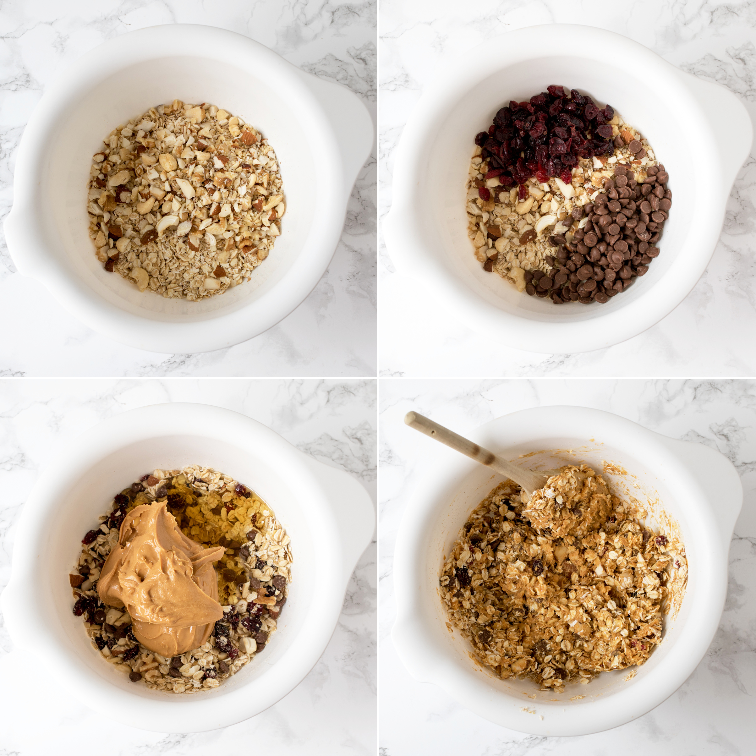 No bake peanut butter granola bars step1 collage