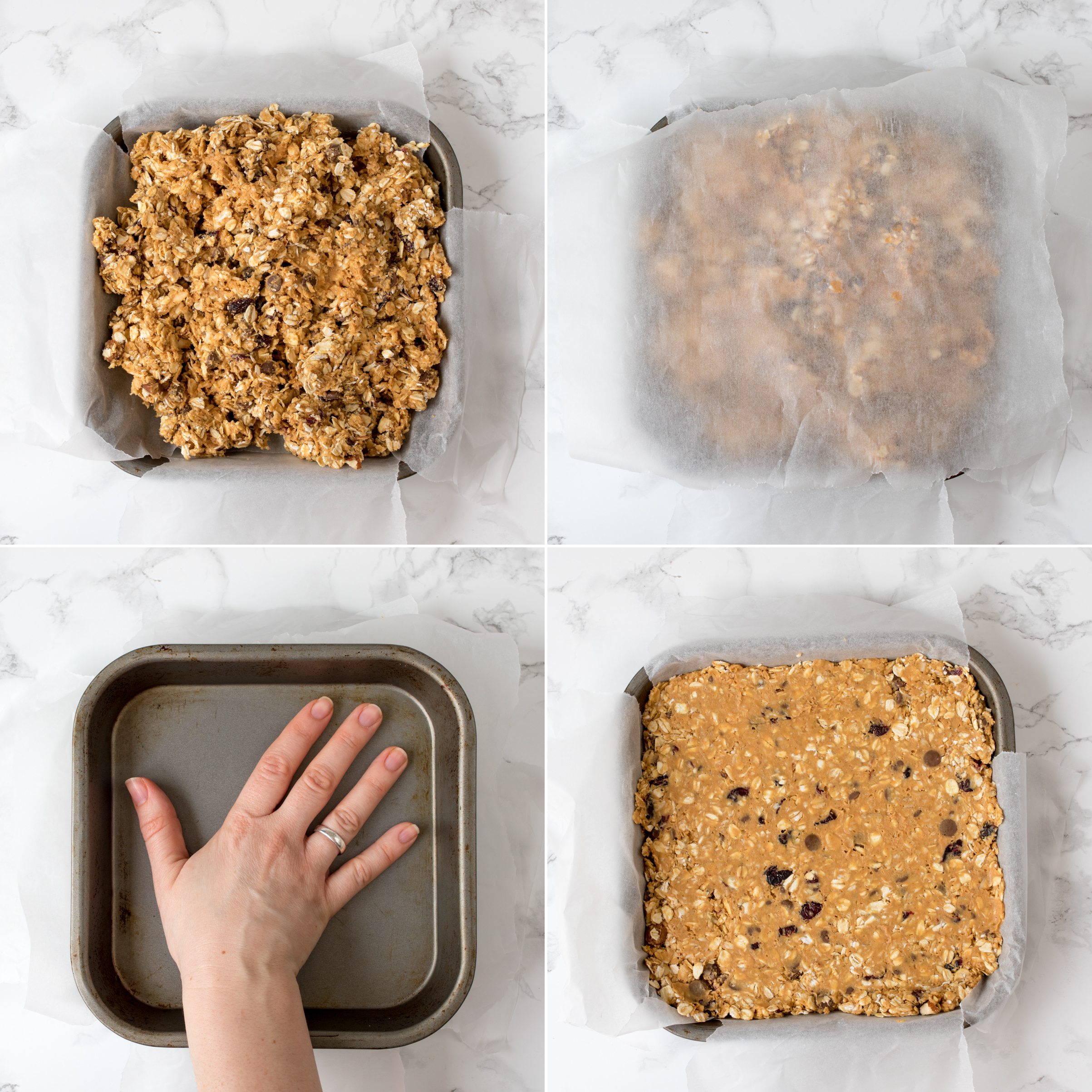 No bake peanut butter granola bars step2 collage