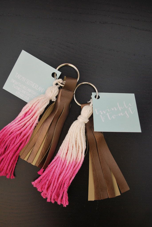 Ombre yarn key tassels