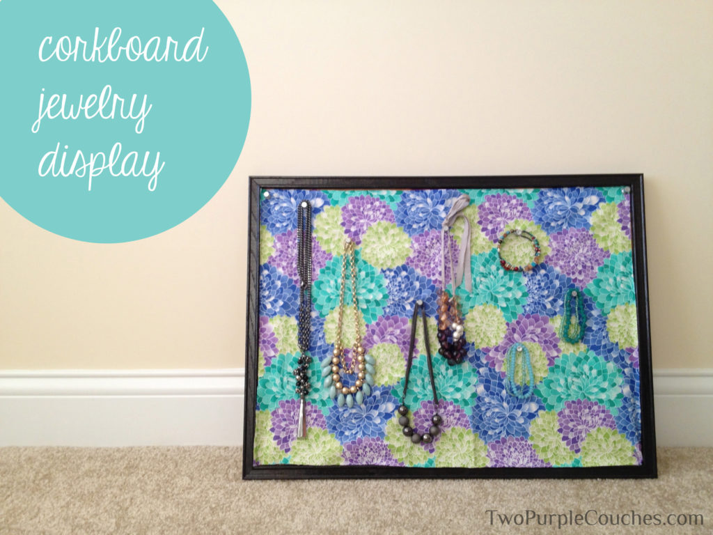 Painted corkboard jewelry display