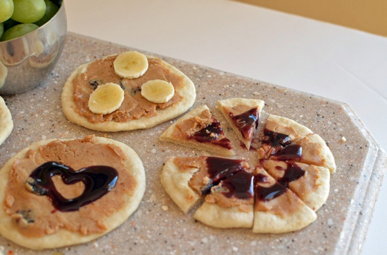 Peanut butter and jelly pizzas