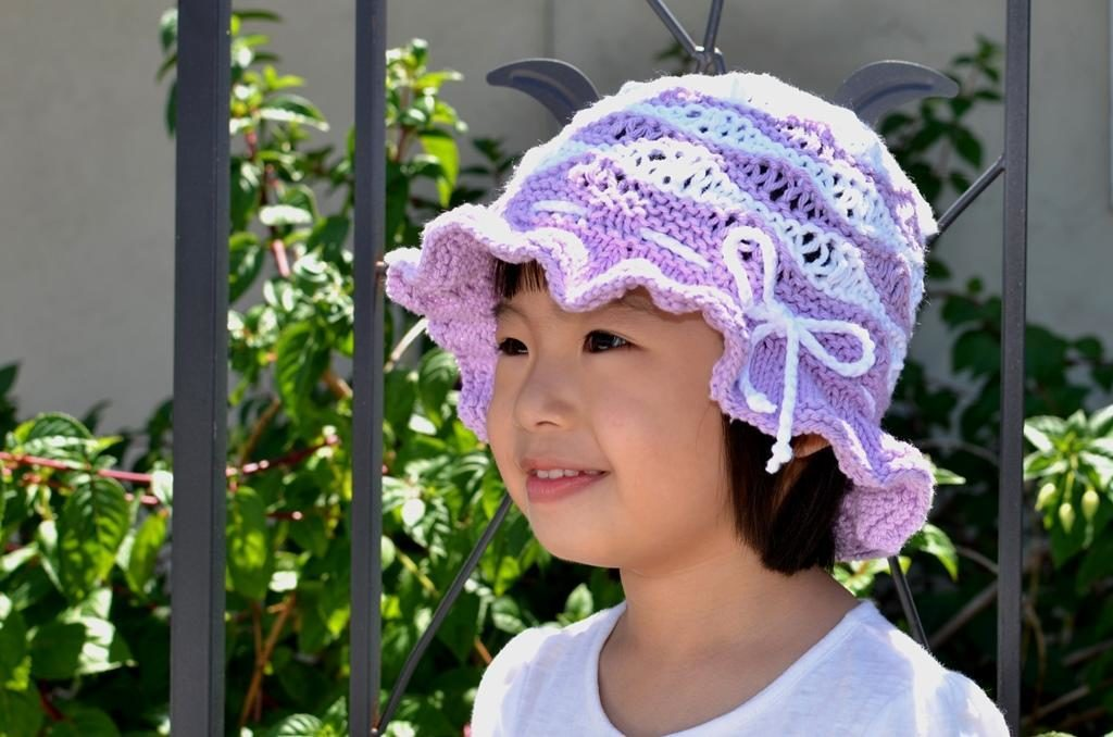 Purple wave cotton sun hat