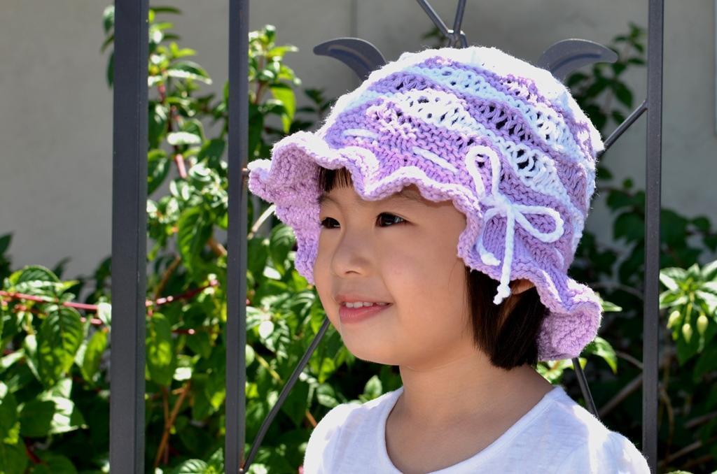 Purple wave cotton sun hat