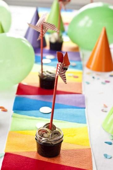 Rainbow felt table runner