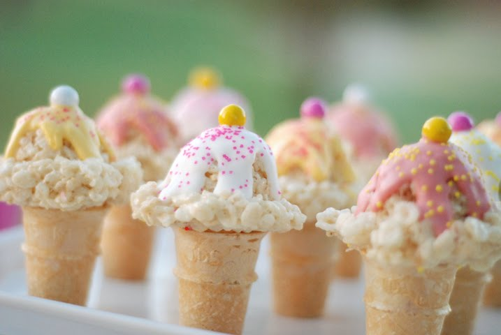 Rice kripie treat cones recipe