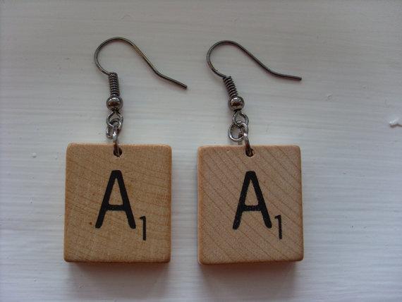 Scrabble tile earrings