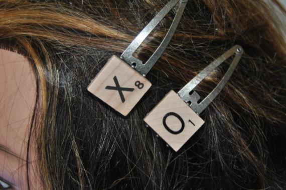 Scrabble tile hair clips