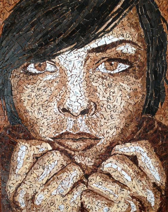 Scrabble tile mosaic art