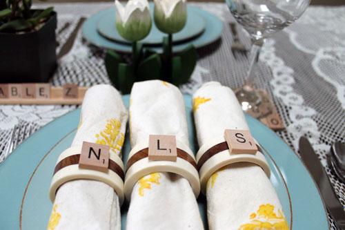 Scrabble tile napkin rings
