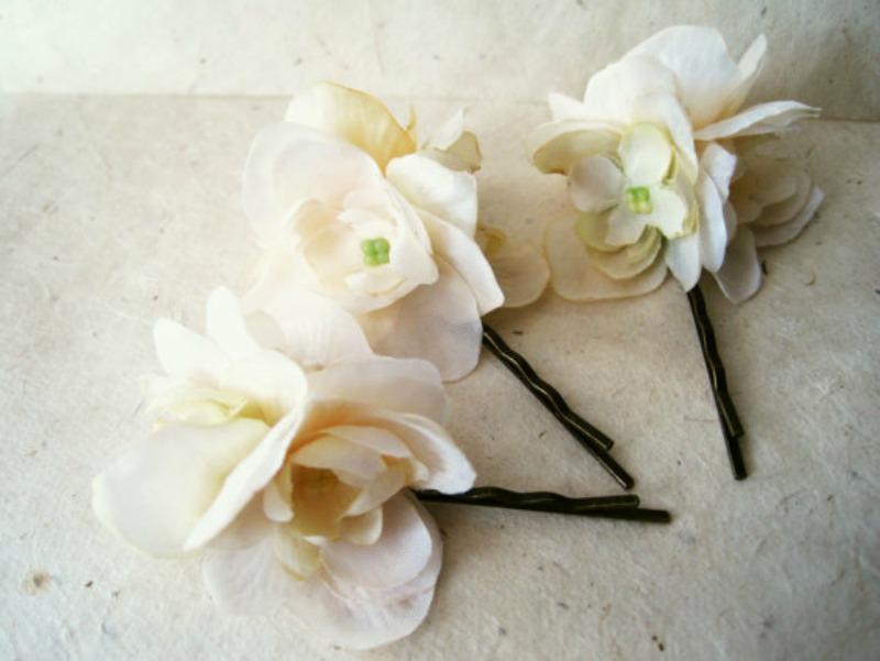 Silk flower hair pins