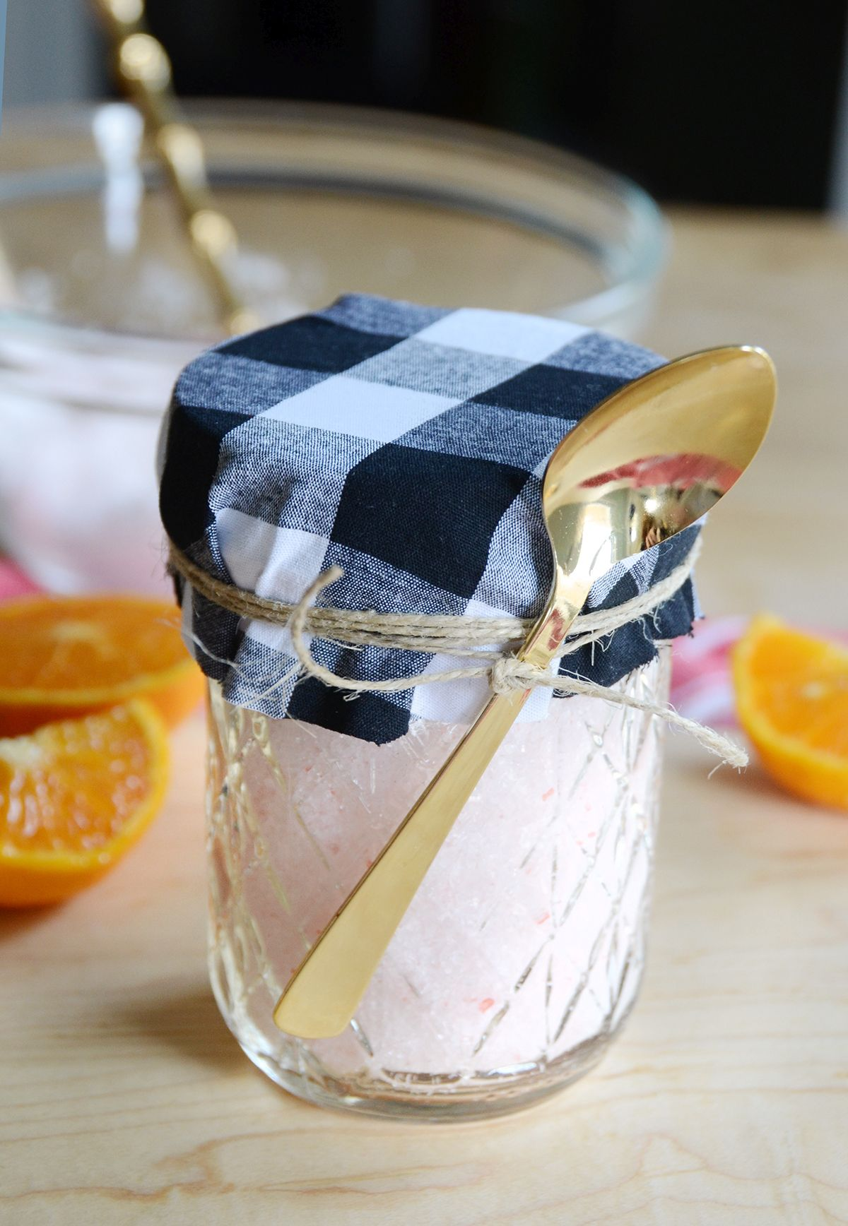 Simple scented diy bath salts gift idea