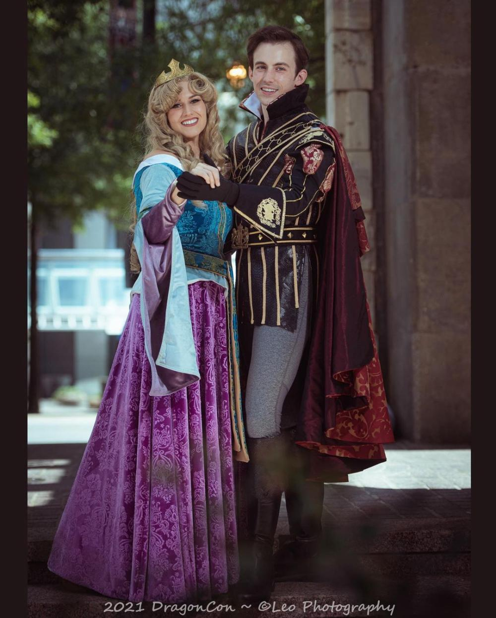Sleeping beauty and prince phillip couple costumes
