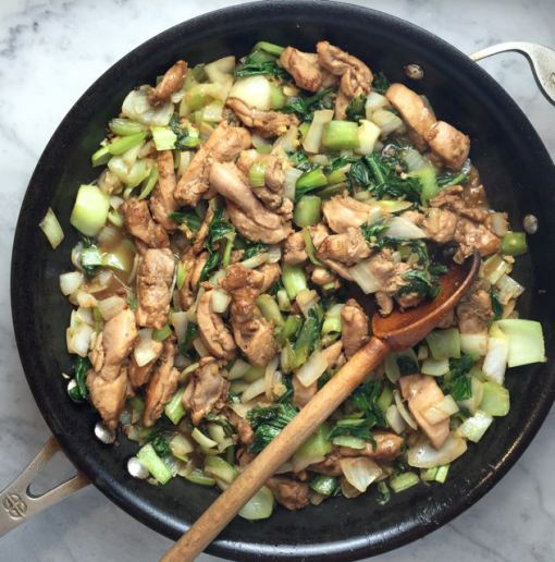 Stir fried chicken bok choy