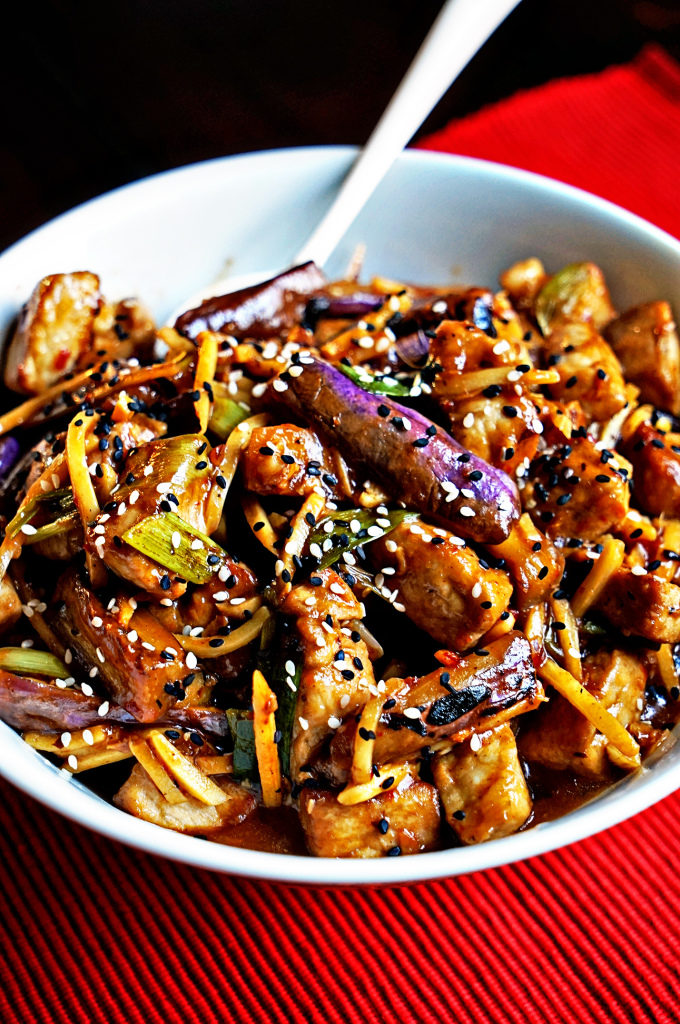 Szechwan eggpland and pork stir fry
