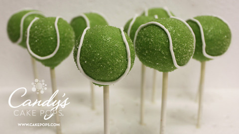 Tennis ball cake pops
