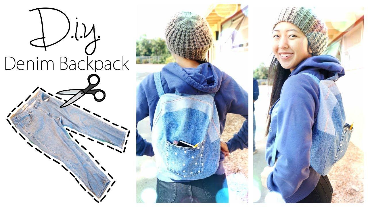 Upcycled denim backpack