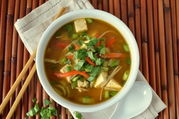 Vegan asian noodle soup