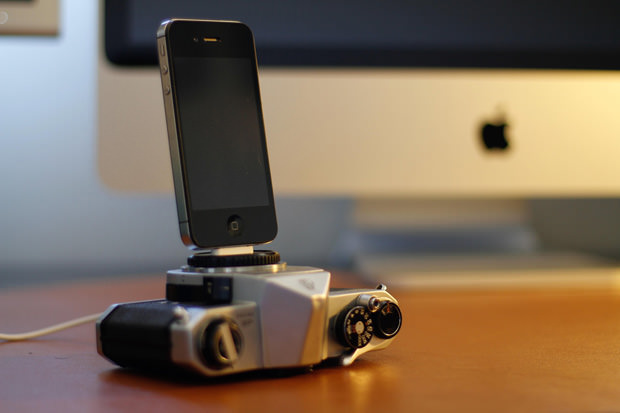 Vintage camera iphone charging dock