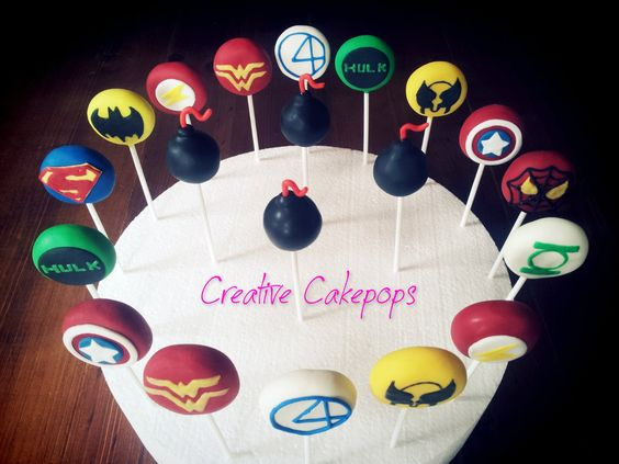 Vintage superhero cake pops