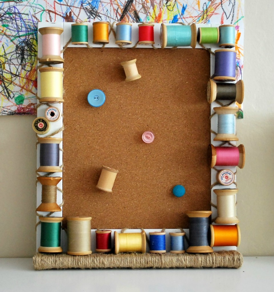 Vintage wooden spool cork board