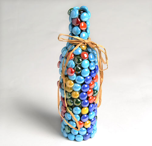 Wine bottle marble art