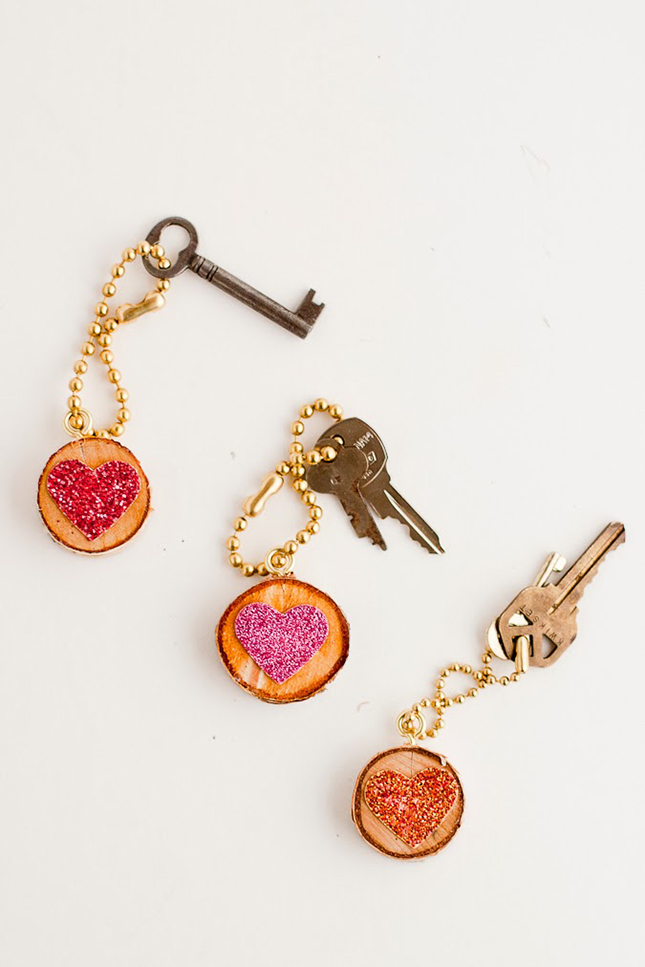 Wooden glitter heart key chains