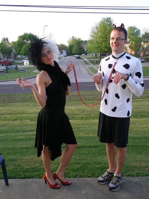 Cruella De Vil & Dalmatian Pup Creative Couples Costumes