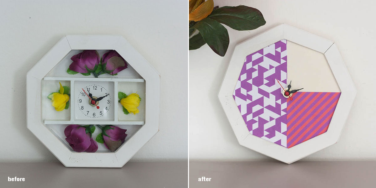 Diy wall clock restyling before after