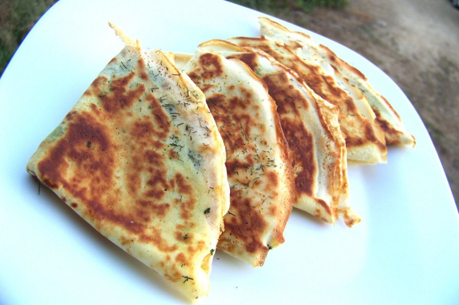 Kale and cheese crepes recipe