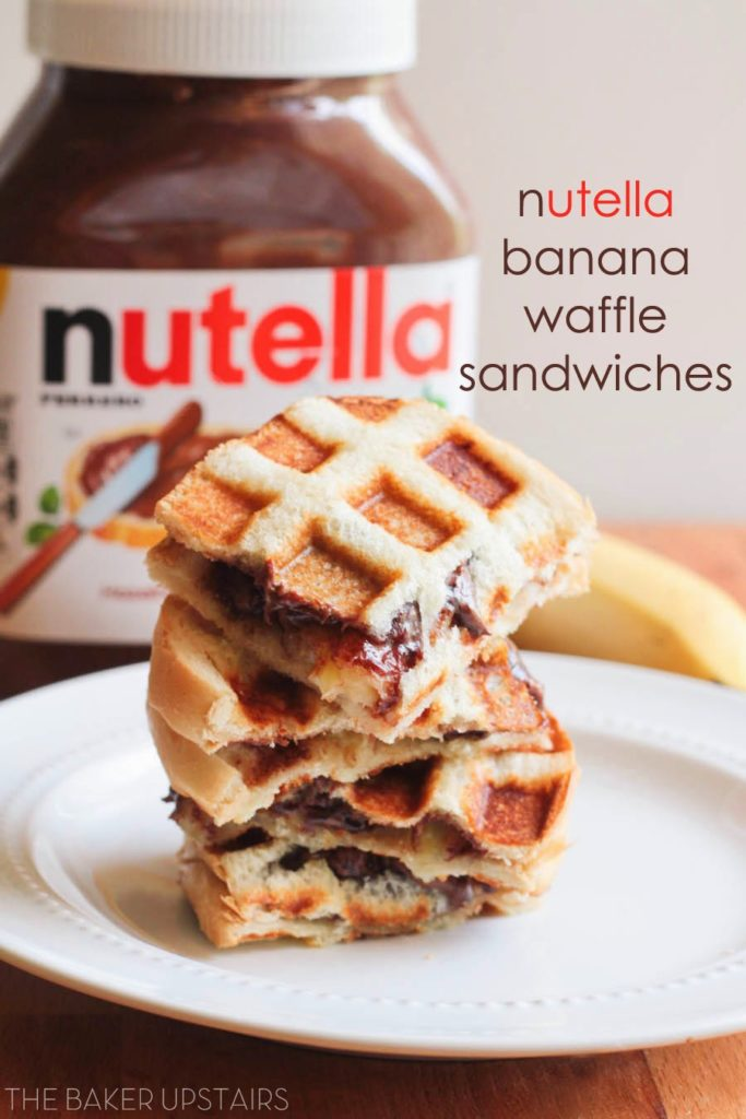 Nutella banana waffle sandwiches