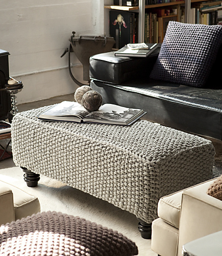 Seed Stitch Ottoman Cover