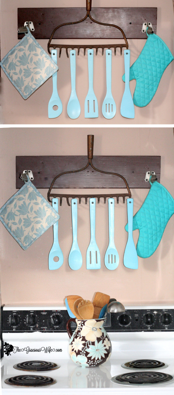 Upcycle utensil rake diy
