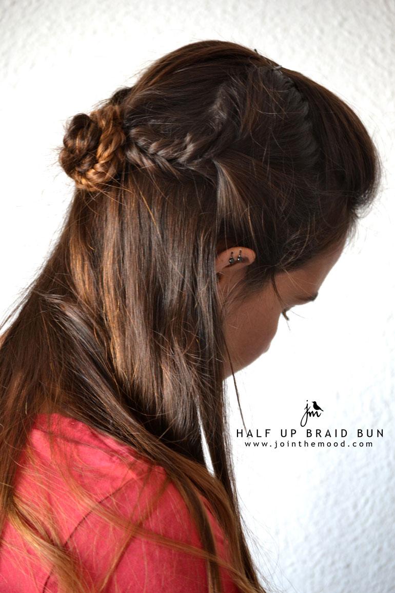 1 half up braid bun