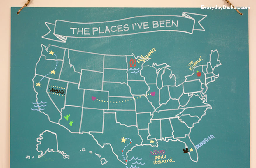 1 chalkboard travel map diy