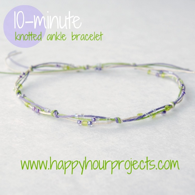 10 minute knotted ankle bracelet