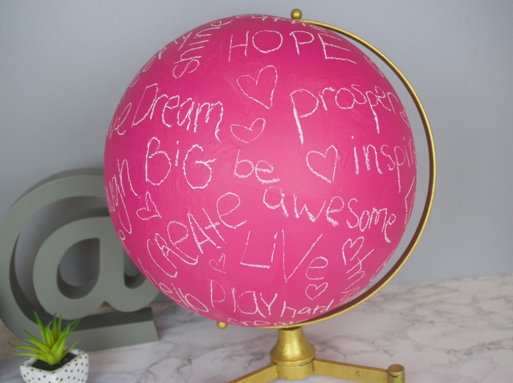 17 pink chalkboard globe
