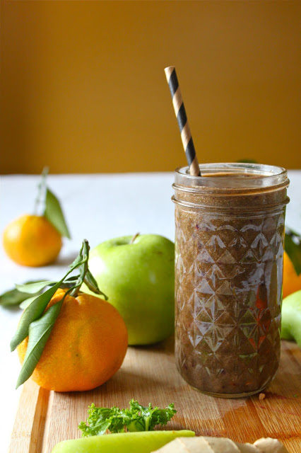 2 green smoothie plum persimmon