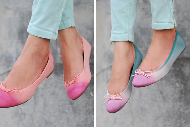 5496b9c1e5e0 How gorgeous are these ombre flats  Follow closely along with the tutorial  at Swellmayde to learn how to make these all on your own!